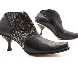 ankle boots, black, and metallic image
