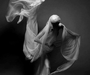 black and white, dress, and ghost image