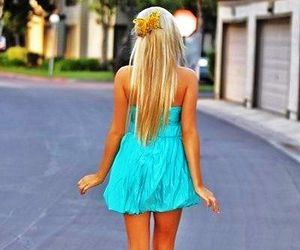 blonde, girl, and dress image