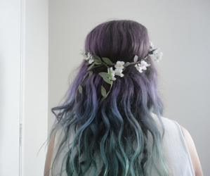 hair, flowers, and blue image