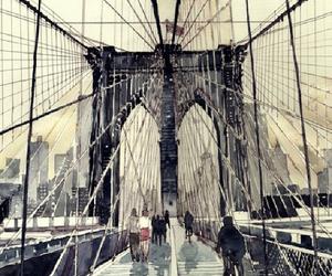 art, watercolor, and bridge image