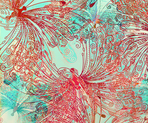 orange, butterfly's, and turquoise image