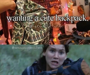 funny, hunger games, and backpack image