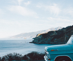 car, sea, and blue image
