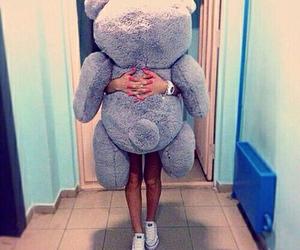 girl, bear, and teddy image
