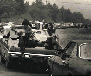 cars, guitar, and woodstock image