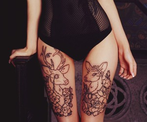 tattoo, deer, and legs image