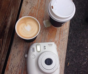 coffee, polaroid, and drink image