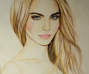drawing, model, and cara delevingne image