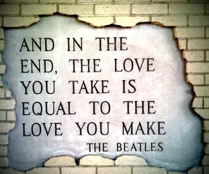 the beatles, love, and text image
