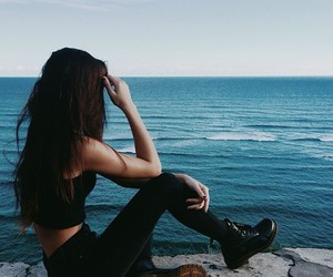 girl, black, and sea image