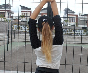 girl, nike, and blonde image