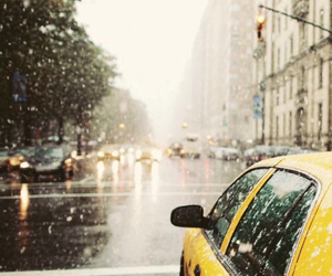 taxi, rain, and snow image