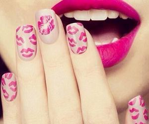nails, pink, and kiss image