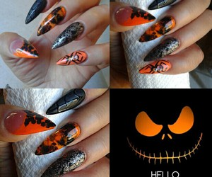 stiletto nails, halloween nails, and longnails image