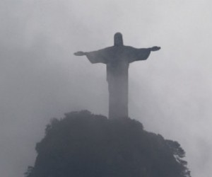 black and white, brazil, and Corcovado image