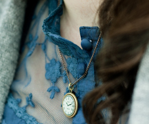 necklace, blue, and clock image