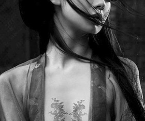 tattoo, asian, and black and white image