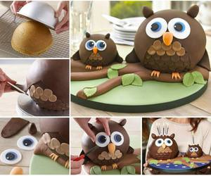 cake, owl, and diy image