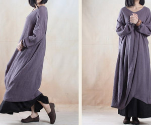 clothing, linen dress, and maxi dress image