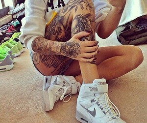 tattoo, nike, and body image