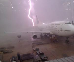 lightning, plane, and grunge image