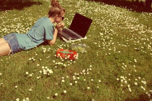 computer, spring, and peaceful image