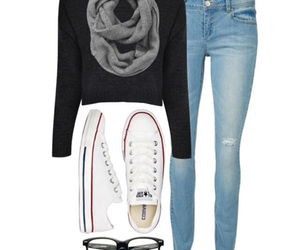 scarf, converse, and jeans image