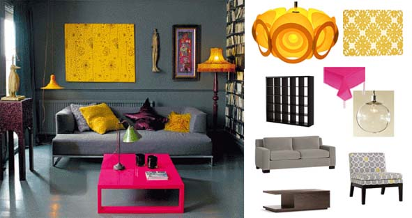 Interior Designs. Interior Design Color Palettes For A Perfect Feeling You  Want To Add: The Remarkable Grey Sofa With Yellow And Purple Cushion With A  Pink ...