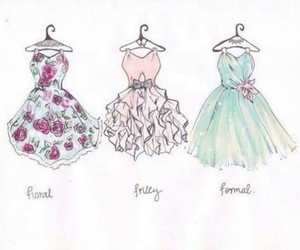 dress, drawing, and floral image