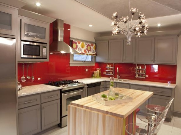 Kitchen The New Design Of The Backsplash By Using Red Glass Tile