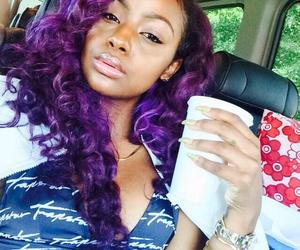 beautiful, beauty, and purple hair image