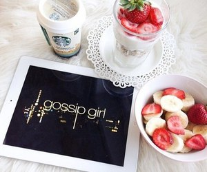 gossip girl, starbucks, and strawberry image