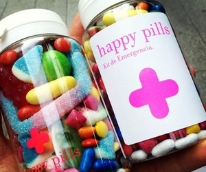 colorful, happy pills, and hipster image