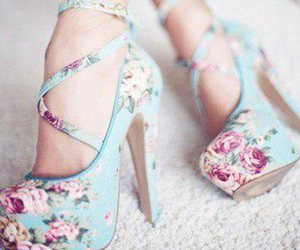 floral, heels, and shoes image