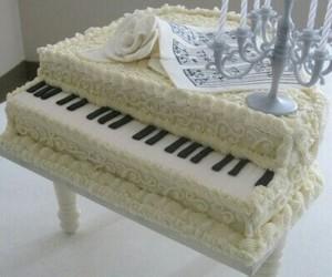 cake, piano, and white image
