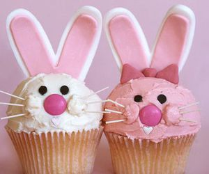 cupcake, bunny, and pink image