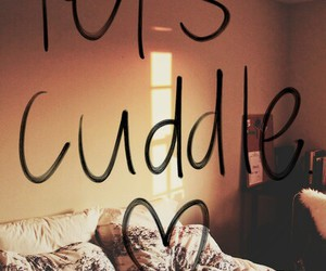 love, cuddle, and bed image