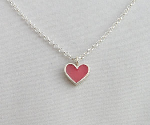 heart necklace, pink heart, and heart pendant image