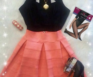 high heels, stockings, and cute peach skater dress image