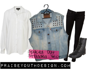 combat boots, denim, and studded image
