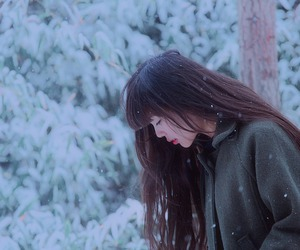 asian, hair, and snow image