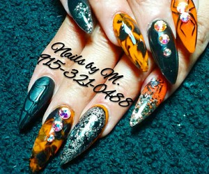 Halloween, halloween nails, and stiletto nails image