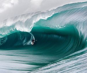 sea, nature, and wave image