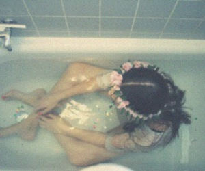 girl, water, and floral wreath image