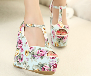 spring summer 2014 and wedge heel. floral image