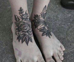 tattoo, flowers, and feet image