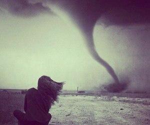 girl, black and white, and tornado image