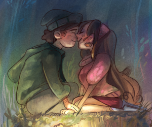 cartoon, cute couple anime, and dipper x mabel image