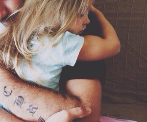 blonde, dad, and daughter image